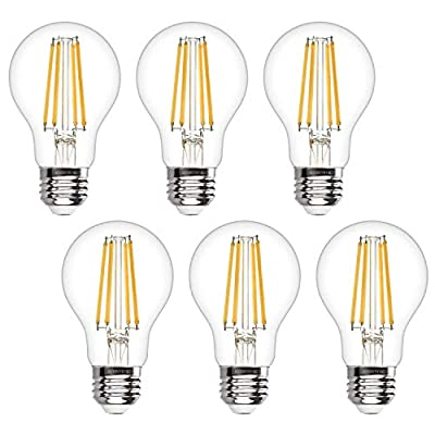 A19 LED Edison Bulb Dimmable 6W LED Filament Light Bulbs 60W Incandescent Equivalent Led Vintage Bulb 3000K Soft White 620LM E26 Medium Base Decorative Clear Glass for Home, Office, Cafes, 6 Pack