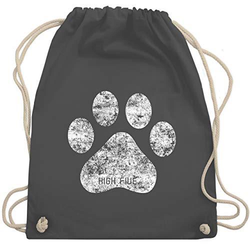 Shirtracer Hunde - High Five Hunde Pfote - Unisize - Dunkelgrau - stoff turnbeutel - WM110 - Turnbeutel und Stoffbeutel aus Baumwolle