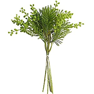 Xilyya 35cm Mimosa Bouquet Artificial Flowers Wedding Bouquets Centerpieces Home Decor (Green)