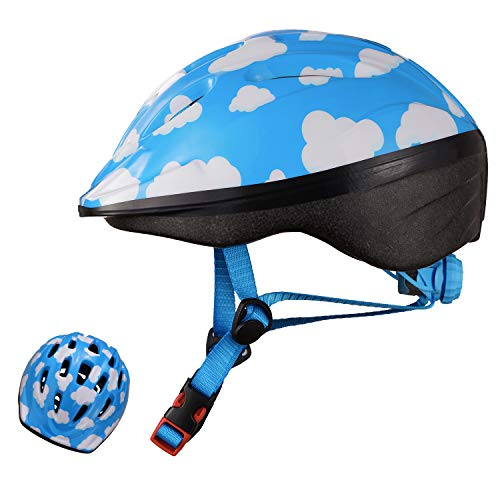 Exclusky Kids Bike Helmet, Lightweight Bicycle Helmets for Children, Adjustable from Toddler to Preschooler, Durable Scooter Helmets with Fun Designs for Boys and Girls Age 3-7 (Sky blue)