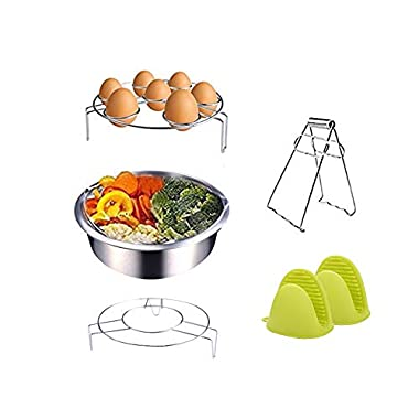 Instant Pot Accessories Steamer Basket Rack Set Includes Egg Steamer Rack Trivet, Steamer Rack, Bowl Dish Clip and 1 Pair Silicone Mitts Fits Instant Pot 5,6,8 quart Pressure Cooker,5 Pcs Set