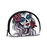 Monederos for Women Color Skull Woman Zip Coin Pouch for Women Coin Pouch Men with Zipper Mini Bolsas de Maquillaje cosmético para Mujeres, niñas, Regalos y Decoraciones para Fiestas