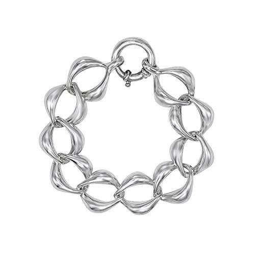 Silverly Pulsera de Mujer Electroformada Plata de Ley .925 Cadena Ancha Gruesa Ligera, 21 cm