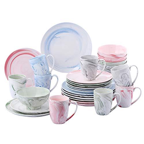 vancasso, série Chloe, Service de Table Porcelaine Marbre, Service Vaiselle Complet 32 Pièces pour 8 Personnes, Assiette Plate Creuse, Bols Céréales, Tasse