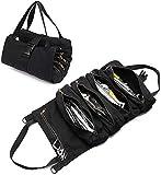 Super Tool Roll Bags con 5 tasche con cerniera, robusto rotolo di attrezzi con cerniera forte, organizer per chiavi, in tela, organizer per sedile auto, accessori da viaggio (nero)