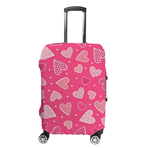 CHEHONG Suitcase Cover Luggage Cover Sweet Hearts Dots Pink Travel Trolley Case Protective Washable Polyester Fiber Elastic Dustproof Fits 18-20 Inch