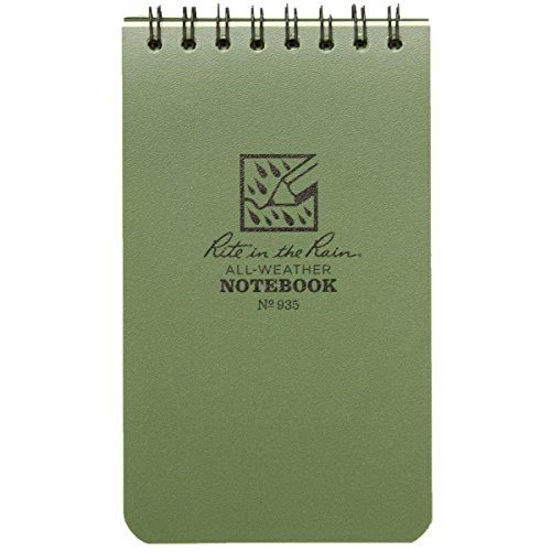 Rite in the Rain Universal Pocket Top Spiralen-Notizbuch–Grün/Grün, 7,6x 12,7cm, Pocket Notebook, Green/Green