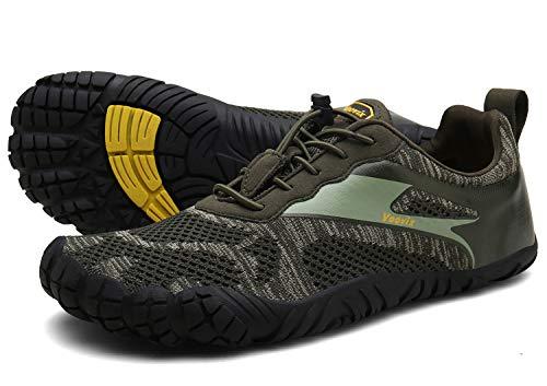 Voovix Herren Trekkingschuhe Damen Wanderschuhe Barfußschuhe Laufschuhe Traillaufschuhe Knit Sneaker Fitnessschuhe im Sommer green41