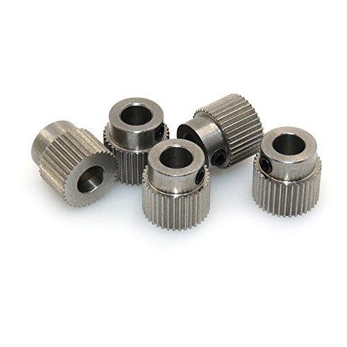 BIQU - Polea extrusora de 36 dientes de diámetro de 5 mm de latón para filamentos de impresora 3D de 1,75 mm y 3 mm (paquete de 5 unidades) (acero inoxidable)