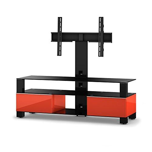 Sonorous MD 8143-B-HBLK-RED TV-Möbel nero con vetro (in alluminio lucido, Altezza decorazione fulgore corpo) rosso/nero
