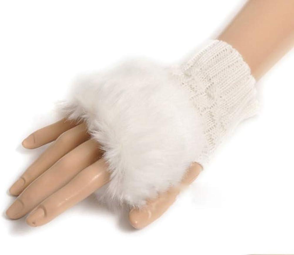 Winter Fingerless Short Touchscreen Gloves Thumb Hole Mittens Knitted Faux Fur Warm Gloves