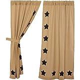 VHC Brands Classic Country Primitive Window Burlap w/Stars Tan Short Curtain Panel Pair, Black