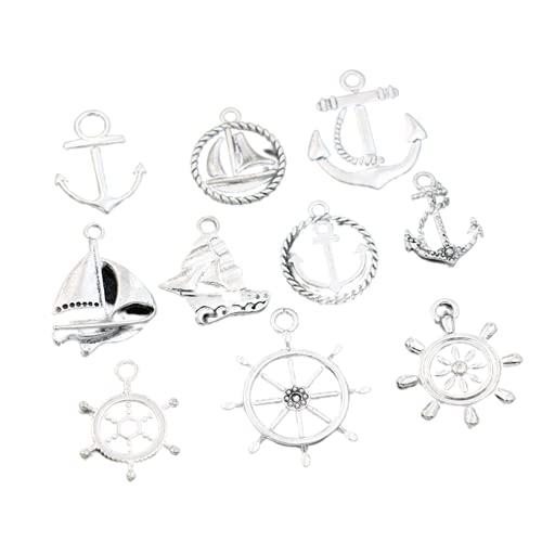 20 piezas colgante de amuletos de barco de ancla para hacer joyas, pulsera, pendientes, collar, accesorios de bricolaje, mezcla artesanal