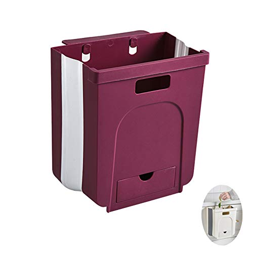 ZWC-tool Foldingtrash Can, Hanging Large Trash Bin Wall-Mounted Folding Trash Can for Kitchen, Bathroom, Door, Toilet,Wine red