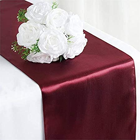 Bright Silk and Smooth Fabric Party Table Runner Beige Parfair Dessin Satin Table Runners 12 x 108 inch for Wedding Banquet Decoration