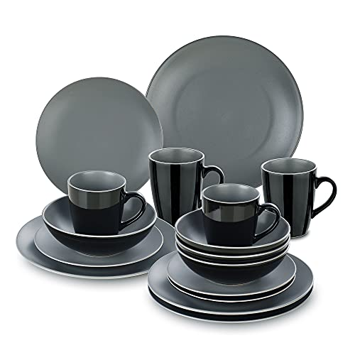 Kombiservice Steingut, vancasso LENTO 16-teiliges Geschirrset, modernes Tafelservice für 4 Personen, Vintage