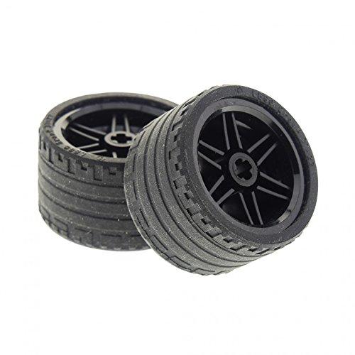 2 x Lego Technic Rad Räder Reifen schwarz 37 x 22 ZR Technik Felge schwarz 30.4mm D. x 20mm (56145 / 55978) 56145c03