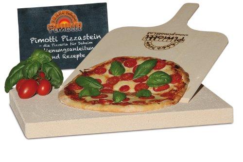 3cm Pimotti Pizzastein/Brotbackstein aus Schamott +Schaufel +Anleitung & Rezepte im Set