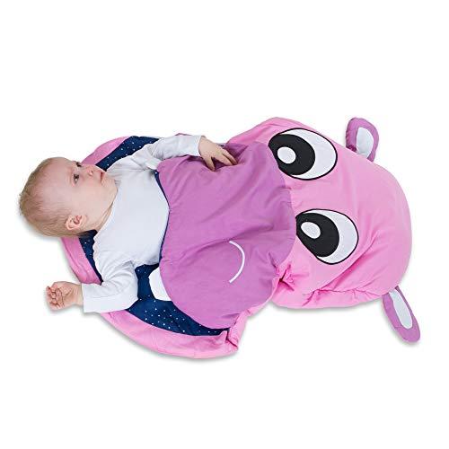 all Kids United Kinder-Schlafsack aus Baumwolle Strampler Fußsack, Kinderwagen Pucksack, Baby-Schlafsack Wintersack für Mädchen und Jungen 85 x 70 x 6 cm - Hippo Nil-Pferd