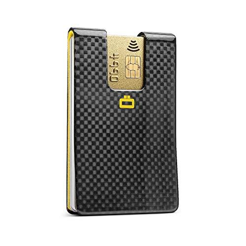 Ögon Smart Wallets - 3C Carbon Kartenclip - Ultrakompakter Kartenhalter - RFID-Schutz - Echte Kohlefaser