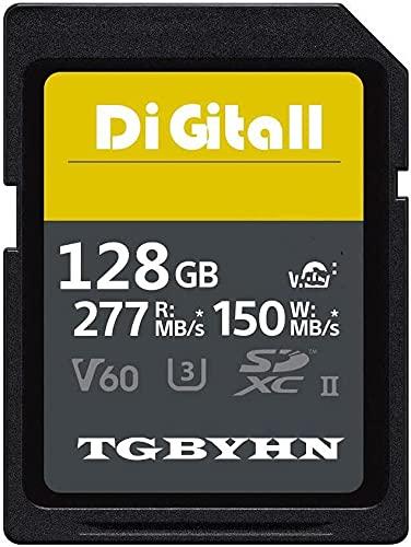 Professional 128 Go SD Memory Card UHS-II Class 10 Memory SDXC Carte C10, U3, Data Storage, Idéal pour appareils photo reflex numériques et caméscopes (128 Go)