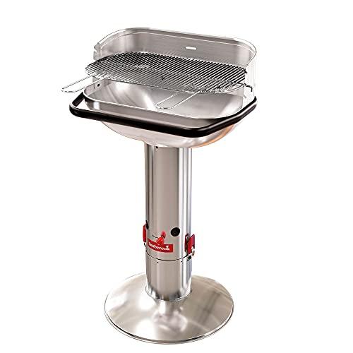 Barbecook Holzkohlegrill Säulengrill Stand-Grill eckig 3-Fach höhenverstellbar mit Quick-Stop, Silber, 62x35x99,5 cm