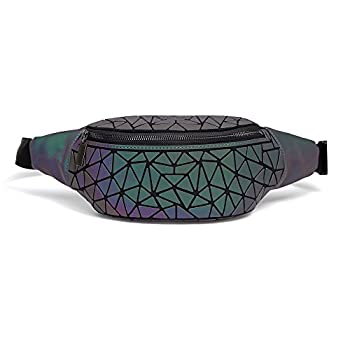 DIOMO Fanny Packs for Women and Men Luminous Holographic Waist Pack Sport Chest Bag  Green NO.1