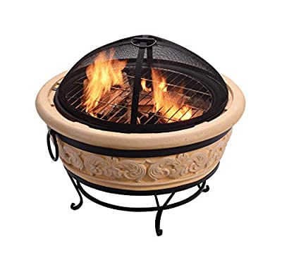 Peaktop Concrete Intricate Design Charcoal and Wood Burning Fire Pit Bonfire for Outdoor Patio Garden Backyard Decking with Spark Screen, Fireplace Poker, Grilling Grate, and BBQ Grill