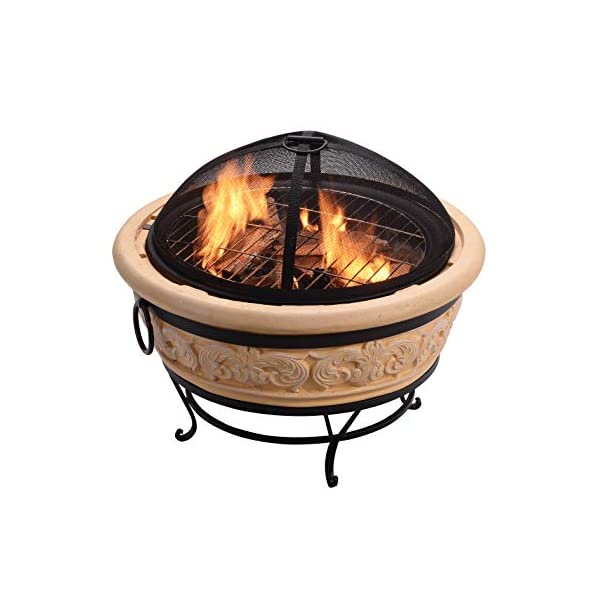 Peaktop Outdoor Round Intricate Design Wood Burning Fire Pit with Charcoal Grill