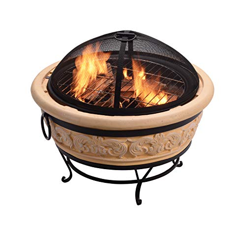 Peaktop HR26303AA-S Round Intricate Wood Burning Fire Pit, 27.2', Sand