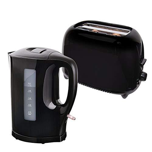 Black 1.7 Litre 2000W Fast Boil Cordless Electric Jug Kettle Plus 700W Two Slice Toaster Set