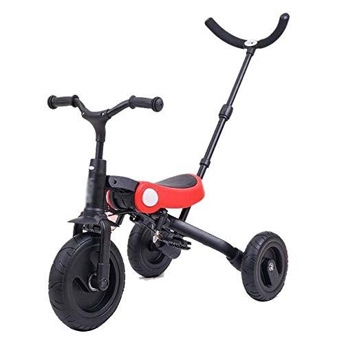 Bicicleta para Niños Carretilla infantil, Mini triciclo niños con la manija de empuje, 2 en 1 Steer cochecito plegable, aprendizaje bicicletas, carretilla plegable del bebé cubierta de bicicleta de ej