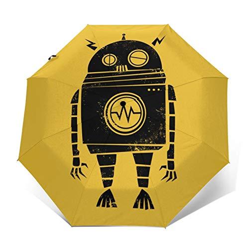 DOWNN Paraguas automático triple plegable 3d impresión exterior Big Robot 2 impermeable protector solar resistente al viento y duradero plegable paraguas para hombre y mujer al aire libre