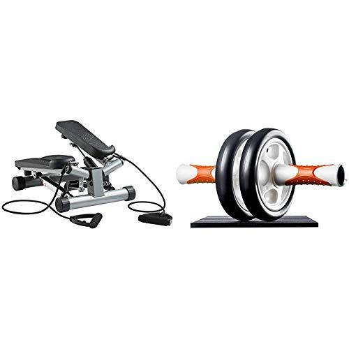 Ultrasport Máquina de Step Swing Stepper con Cintas de Entrenamiento/Aparato de Entrenamiento Stepper + AB Roller Aparato de Abdominales, práctico Aparato de Fitness para Entrenar Musculatura
