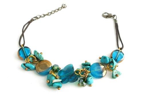Agathe creationBFA13 -Pulsera conperlas en forma de mariposa en cristal azul y piedras turquesas (ajustable, cadena con mosquetón, hecho a mano)
