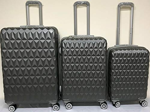 Suitcase 4-Wheel Spinner Hard-Shell Luggage Cabin Trolley Diamond Pattern (Color : Charcoal Grey, Size : Large (28+#034;))