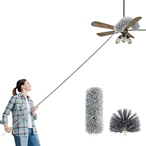 Microfiber Duster for Cleaning Duster with Extension Pole, Extendable Bendable Cobweb Telescoping Long Dusters for High Ceiling Fan, Blinds, Vents, Furniture, Cars(Double Heads)