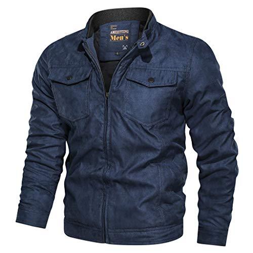 MAYOGO Herren Warm Veloursleder Jacke Freizeitjacke Softshelljacke Cargo Jacke Baumwolle Mantel Jacke (Blue, XXXL)