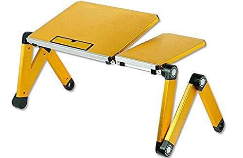 HIGHKAS Workstation Schreibtisch Stehpult Laptop Tisch Aluminium Computer Ständer Bett Computer Computer Klapptisch Gelb