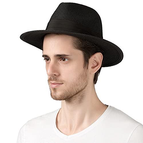 "Lanzom Men Wide Brim Straw Foldable Roll up Hat Fedora Summer Beach Sun Hat UPF50+ (B-Black, Medium Size:Fit for 22.5""-23"")"