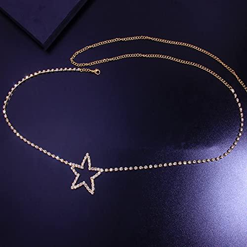 SONGK Cadena de Cadena de Cintura de Estrella de Cristal Brillante para Mujer, dijes de Metal, Cadena de Vientre Sexi, Cadenas, Accesorios para Fiestas