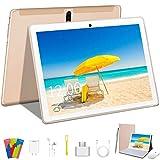 Android 9 Pro Tablet 10 Pollici, Quad-Core Tablet PC con Tastiera,4GB RAM+64GB ROM,Schermata G + G,4G LTE,WiFi,8MP Fotocamera,GPS,Bluetooth-D'oro