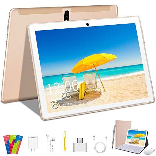 Tablet 10 Pulgadas AOYODKG, 4GB de RAM y 64 GB de Memoria 4G LTE Tableta Android 9.0 Certificado por Google GMS Dobles SIM y TF, GPS WiFi Soporte -Dorado
