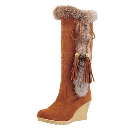 Yiiquan Damen Warme Stiefel Mittlere Höhe mit Dicken Gefüttert Keilabsatz Kunstpelz Schneeschuhe (Braun, 41 EU)