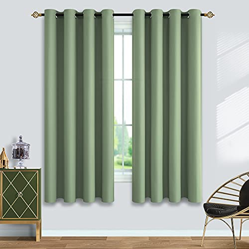 Sage Green Blackout Curtains 63 Length for Bedroom 2 Panels Set Room Darkening Curtains for Living Room 52x63 Inch Long