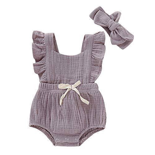 Hongyuangl Baby Mädchen Kleidung Sets, 2 Stück Sommer Outfits Neugeborene Mädchen Baumwolle Leinen Strampler + Stirnband