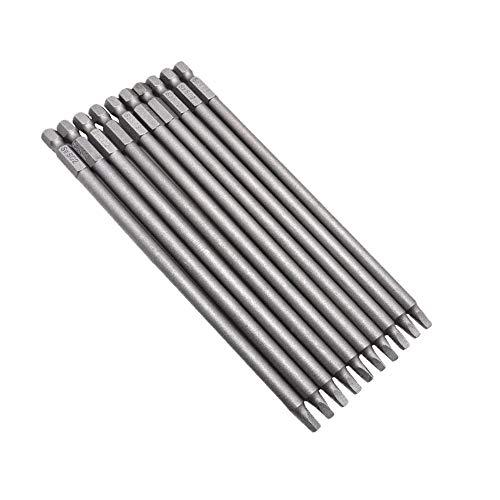 Bestgle10 Piezas de Destornillador de Cabeza Cuadrada Magnéticas Vástago Hexagonal de 1/4 de Pulgada 150mm S2 de Bricolaje Duradero
