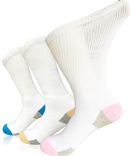 Women Diabetic Socks Non-Binding Wide Top Loose Fitting Medical Hospital Socks for Diabetes Edema Thick Ankle Crew Socks Casual Dress Sox …