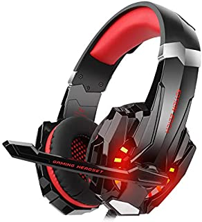 DIZA100 Kotion Each G9000 Gaming Headset Headphone 3.5mm Stereo Jack with Mic LED Light for Xbox One S/Xbox one/PS4/Tablet/Laptop/Cell Phone(Red)