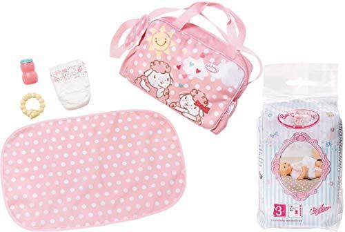 Zapf Creation Baby Annabell® 2er Set 700730 792308 Active Wickeltasche 5-teilig + Windeln (5 Stück)